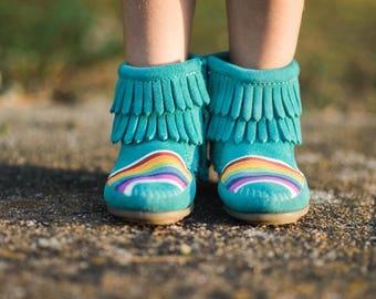 Hand-Painted Rainbow Kids Blue Leather Minnetonka Boots Moccasins