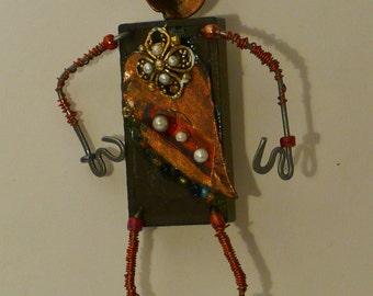 ArtWear Brooch,Reclaimed Recycled,Doll Brooch,Whimsy Pin Doll,Shelf Sitter, Hat Art, Wearable Art, Fairy Tale Doll,Coat Art,Salvage Artwear