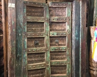 "Antique Doors ""SHEKHAWATI"" Garden of Shekha, Green Floral Patina Double Door Spanish Tuscan Interiors Architecture 18C"