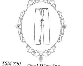 Men's Civil War era Military Trousers Timeless Stitches Sewing Pattern # 720 Historic Pants, Reenactment