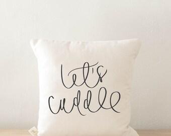 Jeter coussin - Let's câlin, calligraphie, décoration, cadeau de mariage, cadeau de fiançailles, cadeau de pendaison de crémaillère, coussin, housse de coussin
