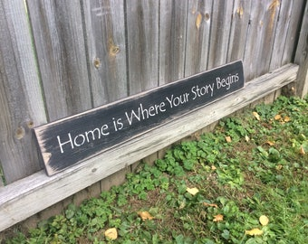 """Wooden, Hnadmade, Long Sign. """"Home is Where Your Story Begins"""". Family, friends, relatives. Kitchen, family room, home decor. Rustic."""
