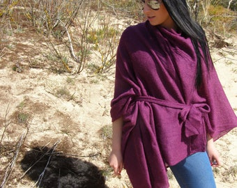 Cardigans for Women Knit cardigan Mohair Purple Pancho Modern Elegant clothing