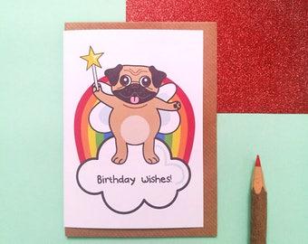 Birthday wishes pug greeting card, birthday card, pug birthday card, pug card, dog birthday card, cute card, cute pug card