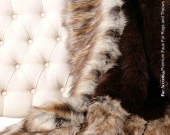 Plush Faux Fur Throw Blanket Bedspread - Brown Shag Bear with Light Brown Ribbed Fox Fur Border Trim - Minky Lining - Fur Accents - USA
