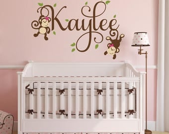 Girls Monkey Name Decal Monkey Decal Swinging Monkey Decal Nursery Decor - Jungle Theme Nursery Decor  sc 1 st  Etsy : girl monkey wall decals for nursery - www.pureclipart.com