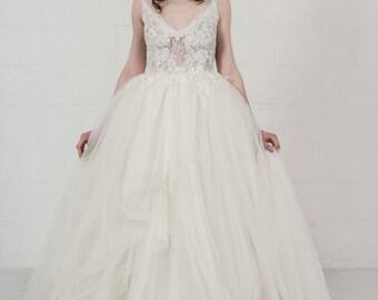 Beaded lace wedding dress, ivory tulle wedding gown, tulle wedding dress, bohemian wedding dress, beach wedding dress, boho wedding dress