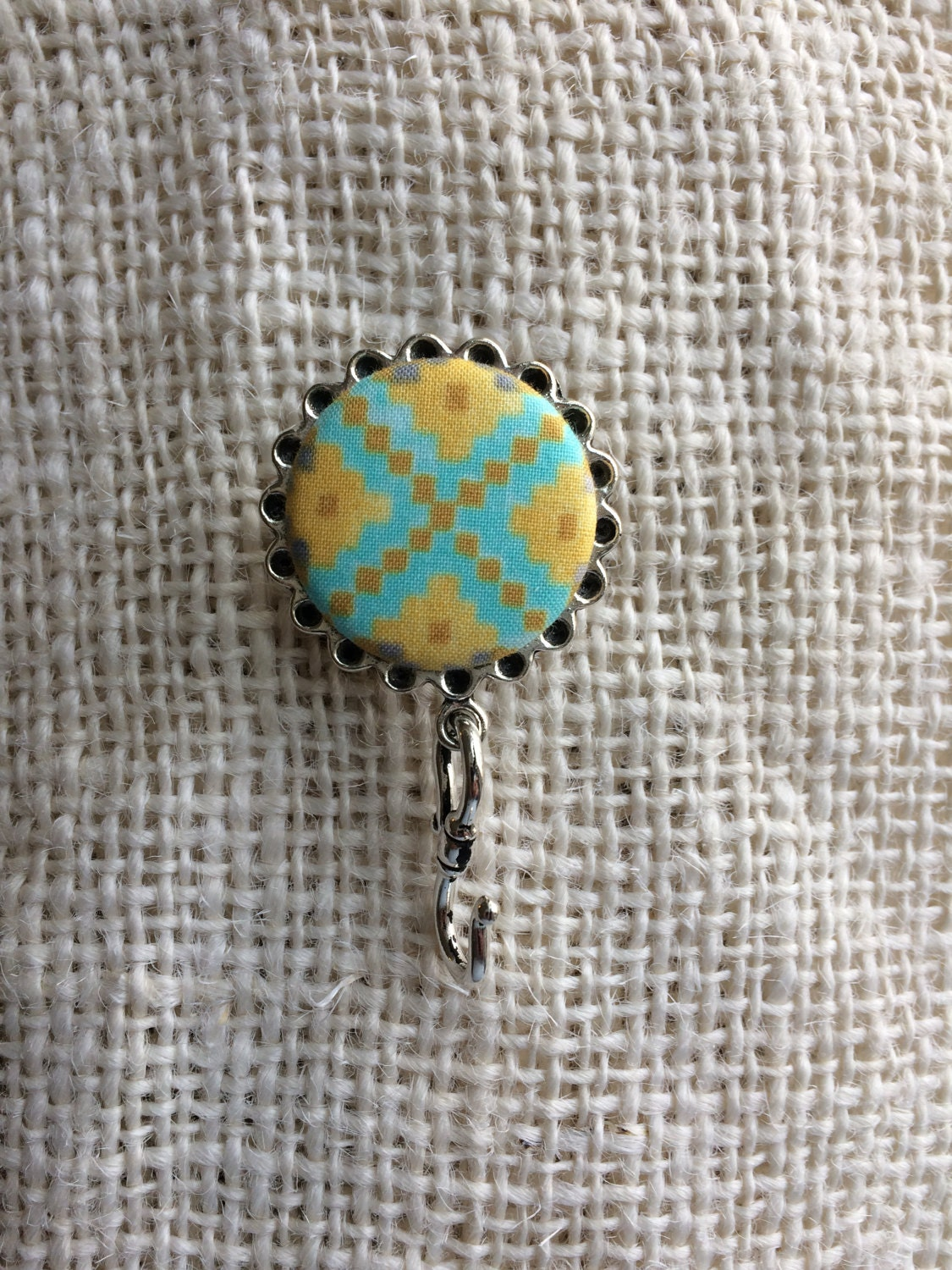 Knitting Pin Fabric Turquoise/yellow- Magnetic Knitting Pin for Portuguese Knitting