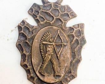 Arrowhead pendant /Native American/ pendant/ 1940s/ Warrior/ Chief/ Copper/ Advertising/ luggage tag/ vintage supplies LA