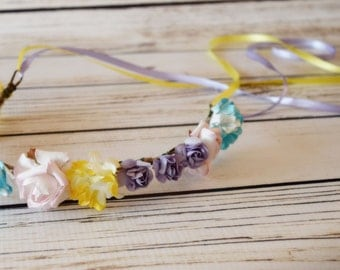 Handcrafted Pastel Flower Crown - Yellow Lavender Light Pink and Turquoise Blue Flower Halo - Pastel Wedding - Flower Girl Crown - Headband