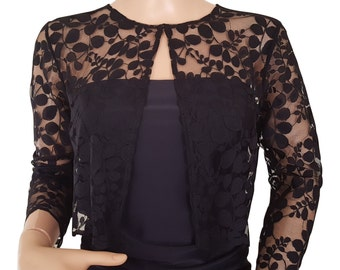Leaf design lace jacket/bolero in Black  with 3/4 sleeves in UK sizes 8 to 18