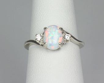 Rainbow Opal Ring Sterling Silver / Fire Opal Ring Silver / Silver Opal Ring