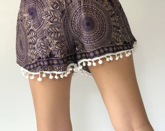 PP0032 Pom pom Shorts Beach Summer pants Freshy pants Fashion short Chic Clothing Aztec Ethnic Bohemian Ikat Boxers Short Pants Unique
