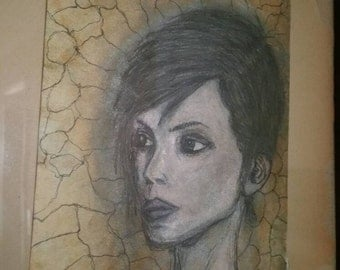 Original Desert Punk Portrait by Caleb Rocha, Pen Ink Pencil Antique Paper Weathered Aged Patina Metallic Shimmer, Woman with Short Hair