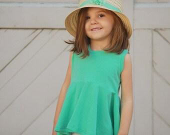 Solid Peplum Top, Choose a color, Girls Sleeveless, Tunic, Peplum, Baby Tee, Toddler Shirt, Custom Top