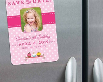 Cupcake Delight - Birthday Save the Date Magnets + Envelopes