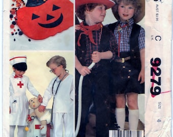 McCalls 9279 Pattern Childrens, Boys And Girls Costumes And Bag - CUT