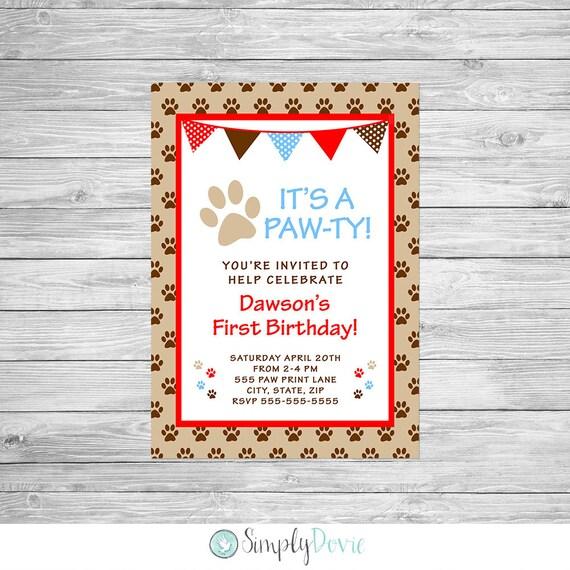 Puppy Dog Birthday Invitation Printable Paw Its A Ty