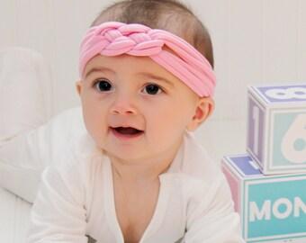 pink headband, baby headband, infant headbands, pink headpiece, newborn headband, pink baby headband, halo headband, baby flower headband
