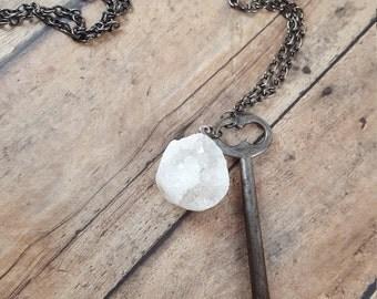 Metal - Skeleton Key - Long Necklace - Key Necklace - Ornate Key - Gunmetal Necklace - Boho Jewelry - Hippie Jewelry - Hipster Jewelry