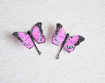 Purple Butterfly Hair Pins, butterfly hair clips, Bridal hair clips, Wedding flower pins, butterfly bobby pins, woodland wedding