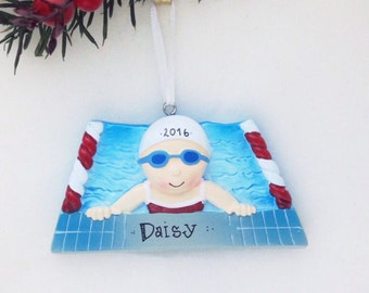 FREE SHIPPING Girl Swimmer Personalized Christmas Ornament / Swimming Ornament / Hand Personalized Christmas Ornament