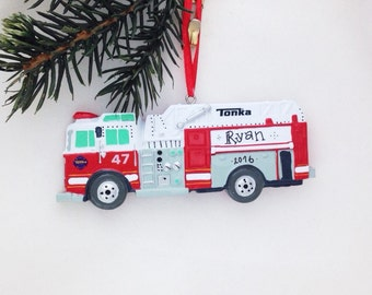FREE SHIPPING Firetruck Personalized Christmas Ornament / Child Christmas Ornament / Little Boy Ornament / Tonka