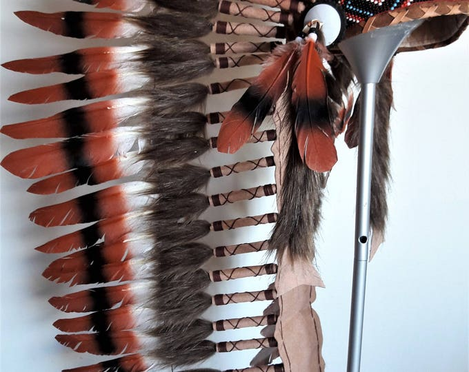 Z40 -  Extra large  three colors brown , Feather Headdress ( 43 inch long). Native American Style.