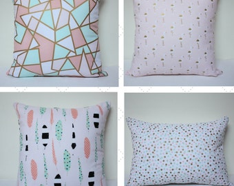 Baby girl pillow cover - flamingo pillow, Blush mint baby decor, baby shower gift, modern nursery, dots pillow, gold pillow, mint pink