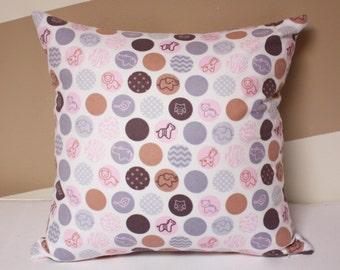 """Baby pillow - 16""""x16"""" pink gray dots pillow. Modern Home decor, Nursery decor, elephant pillow, kids pillows, baby shower gift, girls pillow"""