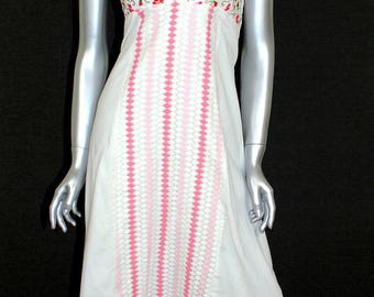 Vintage White Halter Mexican Embroidered Dress