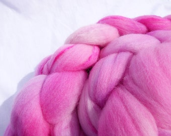 Hand Dyed Wool Roving (Top) - Pink Merino and Mulberry Silk Blend - 100g