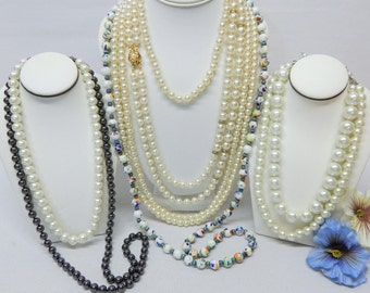 Glass Bead Necklace Lot For Wear, Resell Or Crafting