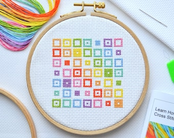 Cross Stitch Kit For Beginners -  Tutorial Kit With Booklet - Modern Geometric Design