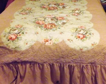 40s Vintage Celanese Rayon Quilted Bedspread Full or Queen Size    Pillow Shams and Curtain Valance