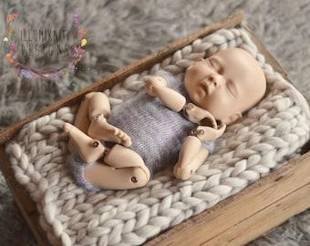 Newborn Knit Romper - Grey Knit Romper - Purple Knit Onesie - Newborn Pastel Onesie - Short Sleeve Onesie - Newborn Grey Romper - Photo Prop