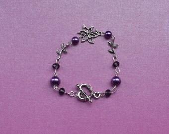 purple beaded bracelet, purple flower bracelet, get well soon bracelet, spring flower bracelet, thank you bracelet, birthday gift for niece