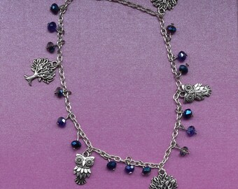 Dark blue anklet, owl themed jewellery, blue ankle bracelet, blue crystal foot bracelet, silver anklet, tree jewellery, summer jewellery