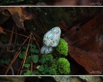 Amara - Moonstone and Amethyst OOAK clay necklace