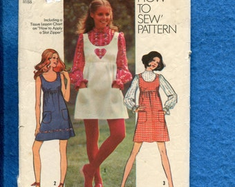 Vintage 1971  Simplicity 9776 Country Chic Shoulder Button Sun Dress or Jumper & Puff Sleeve Blouse Size 14