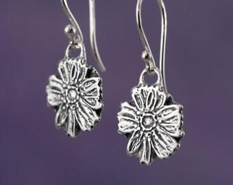 Sterling Silver Flower Earrings – Sterling Silver Earrings – Sterling Flower Earrings – Organic Earrings Sterling Earrings – Flower Jewelry
