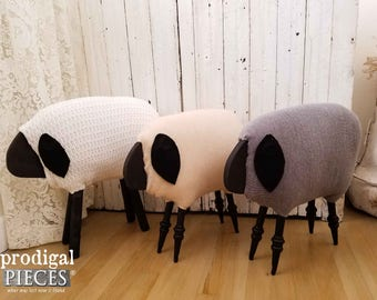 Handmade Farmhouse Woolly Sheep ~ Repurposed and Upcycled ~ Rustic Cottage Chic