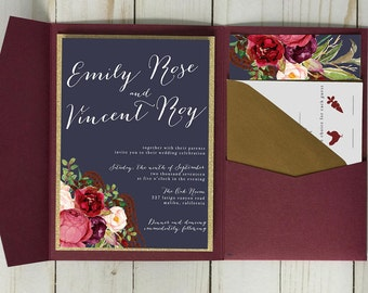 Burgundy and Navy Wedding Invitation with Gold Accents