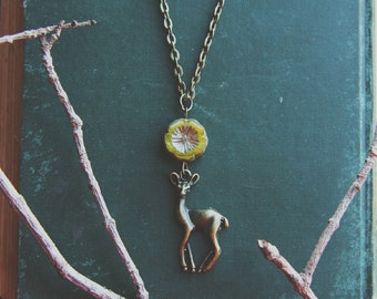 Flora & Fawna ~ a whimsical romantic woodland animal forest inspired brass chain necklace featuring a deer pendant and czech glass bead