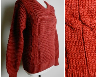 70's WOOL burgundy rich red Indie v neck sweater double cable knit M L u.k. 12 – 14