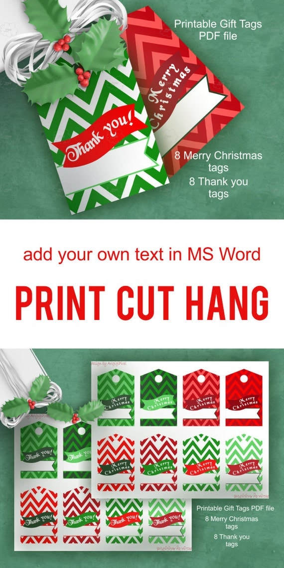Chevron Gift Tag - Merry Christmas - Thank you - text over bunting - printable