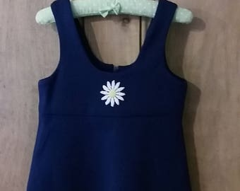 Handmade 1970s crimplene  daisy pinafore dress