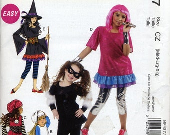 Girl's costume pattern, Witch, PIrate, Rock Star, McCall's MP437