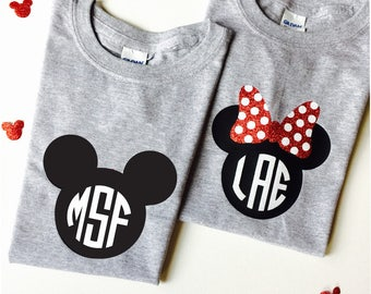YOUTH Minnie and Mickey Monogram Shirts SET Unisex Style Brother Sister Mickey Minnie Faces Monogrammed Shirt