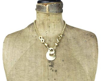 Brushed Gold Pendant Necklace, Large Gold Pendant on Long Gold Chain, Gold Chain Necklace, Brushed Gold Circle Pendant